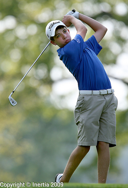 SIOUX FALLS, SD - SEPTEMBER 8:  Collin Hammer of Sioux Falls O'Gorman watches his tee shot on the second hole at Minnehaha Country Club in Sioux Falls during the second round of the boys city golf meet. (Photo by Dave Eggen/Inertia).