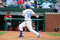 Chattanooga Lookouts outfielder Joc Pederson #29 hits a home run during a game against the Birmingham Barons on April 17, 2013 at AT&T Field in Chattanooga, Tennessee.  Chattanooga defeated Birmingham 5-4.  (Mike Janes/Four Seam Images)