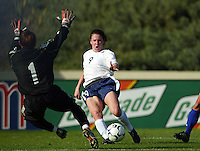 Heather O'Reilly shoots on goal during a 0-0 tie with Japan in San Diego, Calif.,  January 12, 2003.