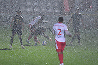 Heavy rain General view of the Lamex Stadium during Stevenage vs MK Dons, EFL Trophy Football at the Lamex Stadium on 6th October 2020