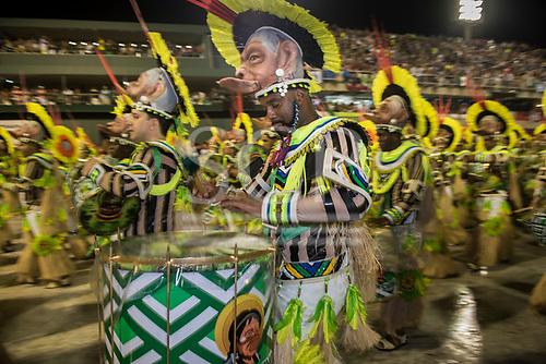 Imperatriz Leopolinense Samba School, Carnival, Rio de Janeiro, Brazil, 26th February 2017. Bateria percussion section during the parade at the sambadrome.