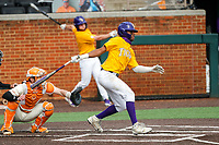 LSU Tigers first baseman Tre Morgan (18) at bat against the Tennessee Volunteers on Robert M. Lindsay Field at Lindsey Nelson Stadium on March 28, 2021, in Knoxville, Tennessee. (Danny Parker/Four Seam Images)