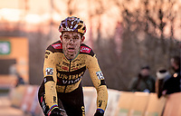 mudfaced Wout van Aert (BEL/Jumbo-Visma) crossing the finish line<br /> <br /> 2020 Superprestige in Boom (BEL) <br /> <br /> ©kramon