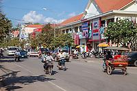 Cambodia, Siem Reap Street Scene.