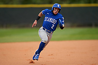 Indiana State Sycamores Josue Urdaneta (2) running the bases during the teams opening game of the season against the Pitt Panthers on February 19, 2021 at North Charlotte Regional Park in Port Charlotte, Florida.  (Mike Janes/Four Seam Images)