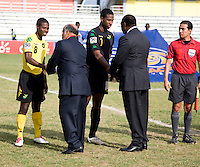 Romario Jones, Richard Trench, dignitaries. Panama defeated Jamaica, 1-0, during the third place game of the CONCACAF Men's Under 17 Championship at Catherine Hall Stadium in Montego Bay, Jamaica.