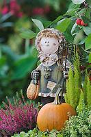 Garden Decoration, girl, pumpkin, fall, Oberaegeri, Switzerland, Europe