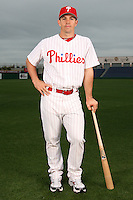 February 24, 2010:  Catcher Tuffy Gosewisch (77) of the Philadelphia Phillies poses during photo day at Bright House Field in Clearwater, FL.  Photo By Mike Janes/Four Seam Images