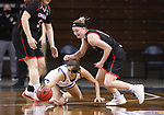 SIOUX FALLS, SD - MARCH 6: Haley Greer #11 of the South Dakota State Jackrabbits tries to grab a loose ball in front of Claire Killian #11 of the Omaha Mavericks during the Summit League Basketball Tournament at the Sanford Pentagon in Sioux Falls, SD. (Photo by Richard Carlson/Inertia)