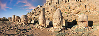 Statue heads at sunrise, from right, Eagle, Herekles, Apollo, Zeus, Commagene, Antiochus, & Eagle, 62 BC Royal Tomb of King Antiochus I Theos of Commagene, east Terrace, Mount Nemrut or Nemrud Dagi summit, near Adıyaman, Turkey