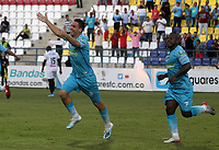 MONTERÍA - COLOMBIA ,05-10-2019: Pablo Bueno jugador de Jaguares de Córdoba celebra después de anota un gol al Once Caldas durante partido por la fecha 15 de la Liga Águila II 2019 jugado en el estadio Municipal Jaraguay de Montería . /Pablo Bueno player of Jaguares of Cordoba celebrates after scoring a goal agaisnt of Once Caldas during the match for the date 15 of the Liga Aguila II 2019 played at Municipal Jaraguay Satdium in Monteria City . Photo: VizzorImage / Contribuidor.