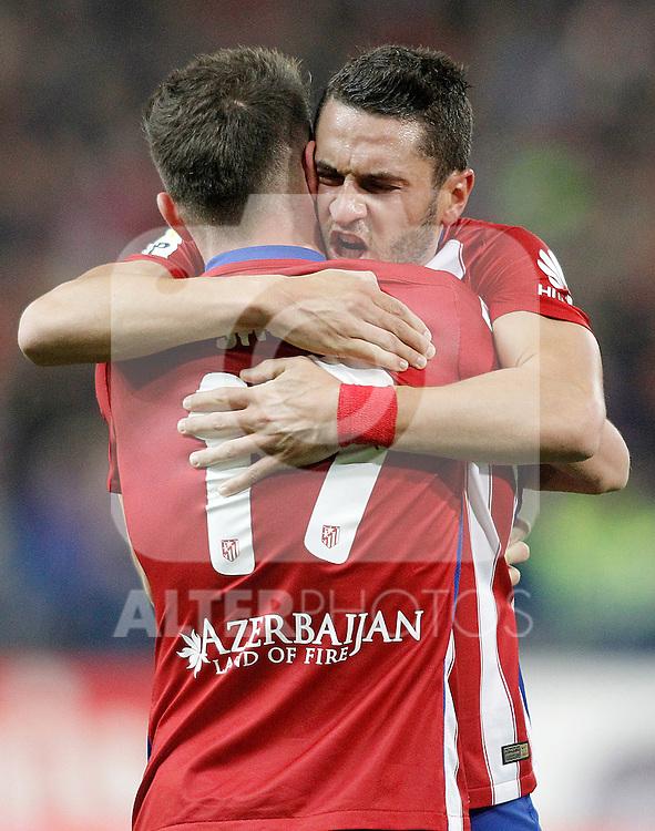 Atletico de Madrid's Saul Niguez (l) and Koke Resurrecccion celebrate goal during La Liga match. December 13,2015. (ALTERPHOTOS/Acero)