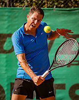 Hilversum, The Netherlands,  August 18, 2020,  Tulip Tennis Center, NKS, National Senior Championships, Men's single 45 + ,   Mick van Meines (NED) <br /> Photo: www.tennisimages.com/Henk Koster