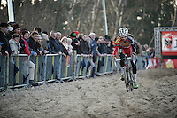 Gianni Vermeersch (BEL/Sunweb-Napoleon Games) racing through the sand-section during recon<br /> <br /> Superprestige Diegem 2015