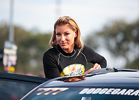 Nov 15, 2019; Pomona, CA, USA; NHRA top fuel driver Leah Pritchett during qualifying for the Auto Club Finals at Auto Club Raceway at Pomona. Mandatory Credit: Mark J. Rebilas-USA TODAY Sports