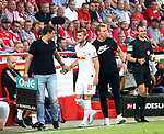 18.08.2019, Stadion an der Wuhlheide, Berlin, GER, 1.FBL, 1.FC UNION BERLIN  VS. RB Leibzig, <br /> DFL  regulations prohibit any use of photographs as image sequences and/or quasi-video<br /> im Bild Trainer Julian Nagelsmann (RB Leipzig), Timo Werner (RB Leipzig #11)<br /> <br />      <br /> Foto © nordphoto / Engler