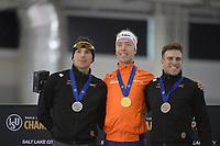 SPEEDSKATING: 16-02-2020, Utah Olympic Oval, ISU World Single Distances Speed Skating Championship, Podium Mass Start Men, Jordan Belchos (CAN), Jorrit Bergsma (NED), Antoine Gélinas-Beaulieu (CAN), ©photo Martin de Jong