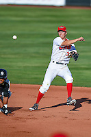 Jordan Zimmerman (3) of the Orem Owlz on defense against the Grand Junction Rockies in Pioneer League action at Home of the Owlz on July 6, 2016 in Orem, Utah. The Owlz defeated the Rockies 9-1 in Game 1 of the double header.  (Stephen Smith/Four Seam Images)