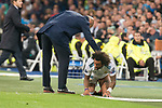 Real Madrid Marcelo and coach Zinedine Zidane during UEFA Champions League match between Real Madrid and Tottenham at Santiago Bernabeu in Madrid, Spain October 17, 2017. (ALTERPHOTOS/Borja B.Hojas)