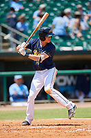 Montgomery Biscuits third baseman Michael Russell (5) at bat during a game against the Biloxi Shuckers on May 8, 2018 at Montgomery Riverwalk Stadium in Montgomery, Alabama.  Montgomery defeated Biloxi 10-5.  (Mike Janes/Four Seam Images)