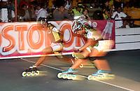 CUCUTA - COLOMBIA - 19-05-2013: Kathy Valencia (izq.), patinadora de Bolivar y Luisa Vallejo (Der.) de Antioquia en la prueba combianada, prejuvenil damas, en el Campeonato Nacional Interligas en la ciudad de Cucuta, mayo 19 de 2013. (Foto: VizzorImage / Luis Ramirez / Staff). Kathy Valencia (left) and Luisa Bolivar skater Vallejo (R) of Antioquia in the test combianada, prejuvenil Ladies Interleague the National Championship in the city of Cucuta, May 19, 2013. (Photo: VizzorImage / Luis Ramirez / Staff)