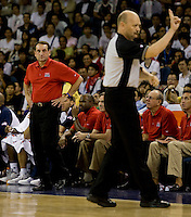 US head coach Mike Krzyzewski watches an official while playing at the Cotai Arena inside the Venetian Macau Resort and Hotel.  The US defeated Lithuania, 120-84.