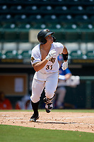 Bradenton Marauders Deon Stafford (37) runs to first base during a Florida State League game against the St. Lucie Mets on July 28, 2019 at LECOM Park in Bradenton, Florida.  Bradenton defeated St. Lucie 7-3.  (Mike Janes/Four Seam Images)