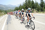 Etixx-Quick Step on the front of the peloton as they ride through the Taurus Mountains during Stage 3 of the 2015 Presidential Tour of Turkey running 165.3km from Kemer to Elmali. 28th April 2015.<br /> Photo: Tour of Turkey/Mario Stiehl/www.newsfile.ie