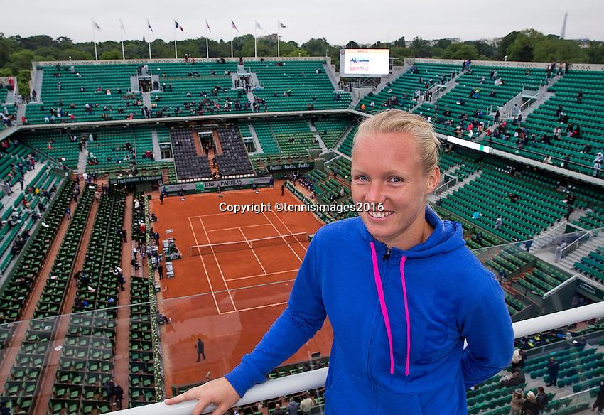 Paris, France, 03 June, 2016, Tennis, Roland Garros, semi finalist Kiki Bertens (NED) ) on the roof of Philippe Chatrier Court<br /> Photo: Henk Koster/tennisimages.com