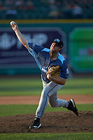 West Michigan Whitecaps starting pitcher Brad Bass (22) delivers a pitch to the plate against the Fort Wayne TinCaps at Parkview Field on August 5, 2019 in Fort Wayne, Indiana. The TinCaps defeated the Whitecaps 9-3. (Brian Westerholt/Four Seam Images)