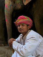 Elephant minder in Jaipur at the Amber Fort