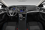Stock photo of straight dashboard view of 2017 Nissan Maxima S 4 Door Sedan Dashboard