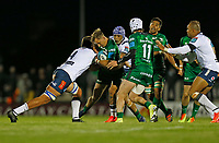 1st October 2021;  The Sportsground, Galway, Ireland; United Rugby Championships, Connacht versus Bulls; John Porch (Connacht) tries to force his way through Walt Steenkamp and Lionel Mapoe (Bulls)