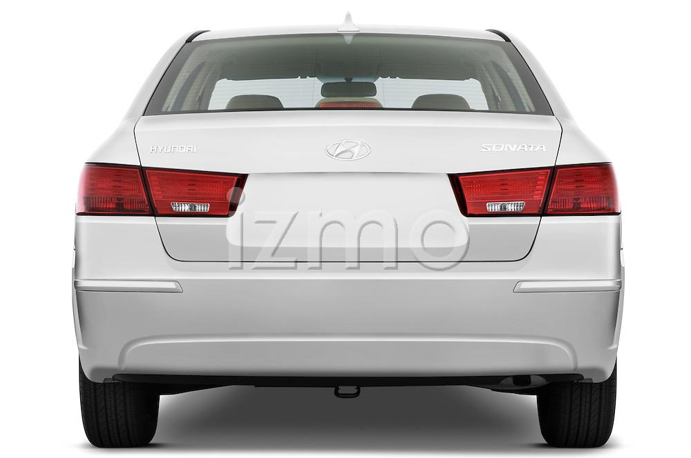 Straight rear view of a 2010 Hyundai Sonata GLS