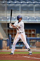 Charlotte Stone Crabs Kaleo Johnson (10) bats during a Florida State League game against the Bradenton Maruaders on August 7, 2019 at Charlotte Sports Park in Port Charlotte, Florida.  Charlotte defeated Bradenton 3-2 in the second game of a doubleheader.  (Mike Janes/Four Seam Images)