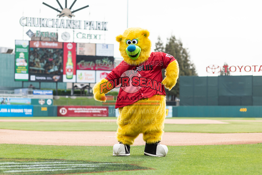 Fresno Grizzlies Mascot, Parker, entertains the crowd before a game against the Reno Aces at Chukchansi Park on April 8, 2019 in Fresno, California. (Zachary Lucy/Four Seam Images)