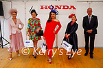 The three winners at the Ladies Day best dressed lady event at the Listowel Races on Friday. Celia Holman Lee (Judge), Deirdre Kissane, best dressed contempory style,  (Listowel), Maritess McCarthy (Cork) overall winner, Niamh Lorden (Listowel) Best dressed Hat and Donal Lynch of sponsors McElligotts Garage