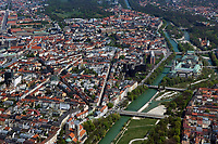 aerial photograph of the Isar River in Munich, Germany.  On the left  in the foreground, St Maximilian Church, one the right toward the back the Deutsches Museum   Luftaufnahme der Isar in München, Deutschland