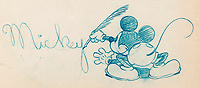 BNPS.co.uk (01202 558833)<br /> Pic: Heritage Auctions/BNPS<br /> <br /> PICTURED: Rare Mickey Mouse Studio Promo Drawing Original Art from the 1930's<br /> <br /> A vast collection of original hand-drawn animations from classic Disney movies has emerged for sale at auction.<br /> <br /> Nearly 300 lots have been put up for sale with animation drawings, original concepts, layouts and storyboards among the most appealing items.<br /> <br /> It is believed the group is the largest collection of original hand-drawn Disney animation ever offered in a single auction.