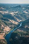 Mokelumne River, Jackson Butte and the slack-waters of Pardee Reservoir, Amador County aerials.