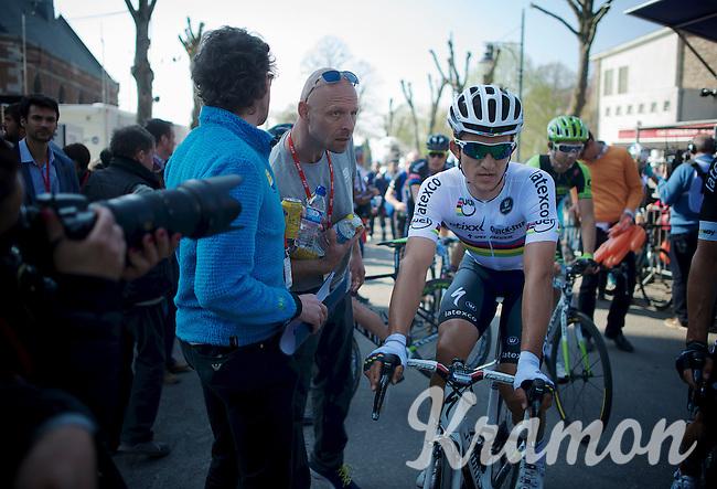 World Champion Michal Kwiatkowski (POL/Ettix-Quickstep) post-race<br /> <br /> 79th Flèche Wallonne 2015