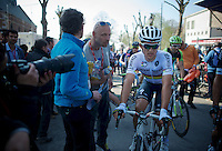 World Champion Michal Kwiatkowski (POL/Ettix-Quickstep) post-race<br /> <br /> 79th Flèche Wallonne 2015
