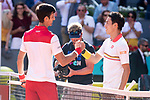 Serbian Novak Djokovic and Japanese Kei Nishikori during Mutua Madrid Open 2018 at Caja Magica in Madrid, Spain. May 07, 2018. (ALTERPHOTOS/Borja B.Hojas)