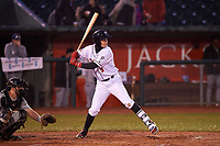 Lansing Lugnuts Nick Podkul (3) at bat during a Midwest League game against the Wisconsin Timber Rattlers at Cooley Law School Stadium on May 2, 2019 in Lansing, Michigan. Lansing defeated Wisconsin 10-4. (Zachary Lucy/Four Seam Images)