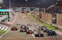 28th March 2021; Sakhir, Bahrain; F1 Grand Prix of Bahrain, Race Day;  Rennstart Max Verstappen NEL 33, Red Bull Racing Honda, Lewis Hamilton GBR 44, Mercedes-AMG Petronas Formula One Team, Valtteri Bottas FIN 77, Mercedes-AMG Petronas Formula One Team, Charles Leclerc MCO 16, Scuderia Ferrari Mission Winnow, Pierre Gasly FRA 10, Scuderia AlphaTauri Honda, Lando Norris GBR 4, McLaren F1 Team, Daniel Ricciardo AUS 3, McLaren F1 Team