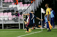 FORT LAUDERDALE, FL - DECEMBER 09: Paul Arriola #7 of the United States takes a cornerkick during a game between El Salvador and USMNT at Inter Miami CF Stadium on December 09, 2020 in Fort Lauderdale, Florida.