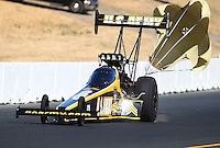 Jul. 26, 2014; Sonoma, CA, USA; NHRA top fuel driver Tony Schumacher during qualifying for the Sonoma Nationals at Sonoma Raceway. Mandatory Credit: Mark J. Rebilas-