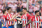 From Left to Right: Kevin Gameiro , Stefan Savic and Fernando Torres of Atletico de Madrid celebrate their win after their La Liga match between Atletico de Madrid vs Athletic de Bilbao at the Estadio Vicente Calderon on 21 May 2017 in Madrid, Spain. Photo by Diego Gonzalez Souto / Power Sport Images
