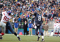 27 Nov 2005:   Seattle Seahawks quarterback Matt Hassselbeck fires a pass down field game against the New York Giants at Qwest Field in Seattle, Washington.