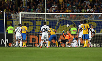 Thursday 29 August 2013<br /> Pictured: Swansea goalkeeper Gerhard Tremmel (in orange) almost concedes a goal from a Petrolul Ploiesti shot, only to be saved by team mate Leon Britton.<br /> Re: Petrolul Ploiesti v Swansea City FC UEFA Europa League, play off round, 2nd leg, Ploiesti, Romania.